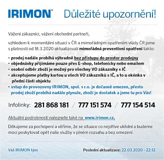 IRIMON - Důležité upozornění